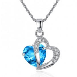 Peach Heart Drilling Pendant Water Chain Crystal Necklace