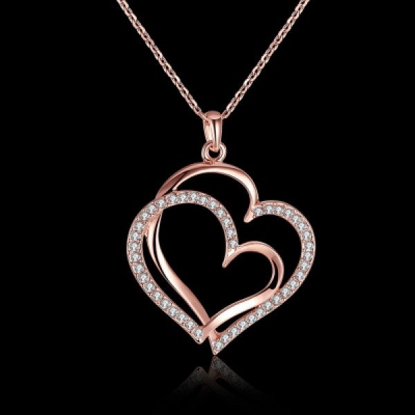 Environmental Protection Rose Gold Heart Pendant Necklace for Ladies