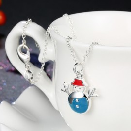 Another Silver Christmas Theme - Blue Snowman Necklace