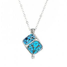 Silver Hollow Out Cube Light Glowing Pendant Necklace