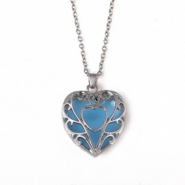 Women Girls Night Light Heart Pendants Necklace Diamond Metal Choker Fashion Jewelry