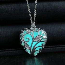 Women Girls Night Light Heart Pendants Necklace Diamond Metal Choker Fashion Jewelry
