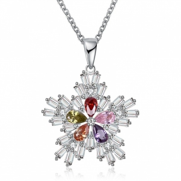 Christmas Colorful Zircon Necklace Fashion Women Trend Snow Necklace
