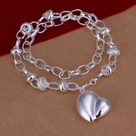 Fashion Jewelry Simple Silver Heart Pendant Necklace