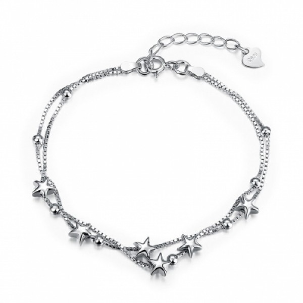 925 Pure Silver Romantic Star Bracelet