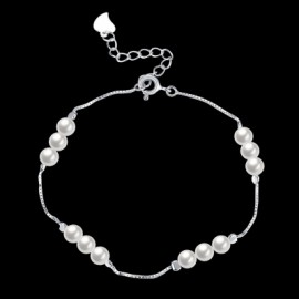 925 Pure Silver  Exquisite Small Pearl Bracelet