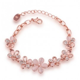 Environmental Protection Rose Gold Flower Czech Diamond Lady Bracelet