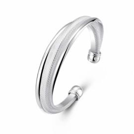 Diagonal Mesh Bracelet Fashion Modeling Silver Bracelet