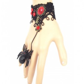 Faux Ruby Lace Bracelet with Spider Ring