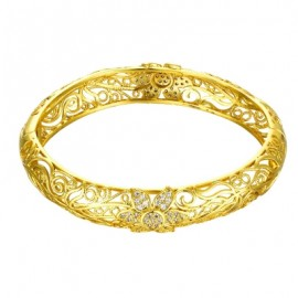 Z025-A Noble Zircon Carving Pattern Gold Bracelet