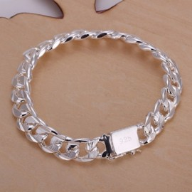 H032 Men\'s Geometric Silver Chain Bracelet