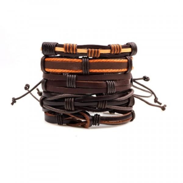 5 Pcs Punk Leisure Leather Bracelet