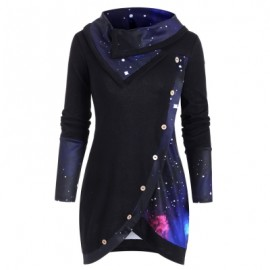 Galaxy Print Panel Mock Button Sweater