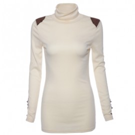 Turtle Neck Solid Color Bead Splicing Long Sleeve ..