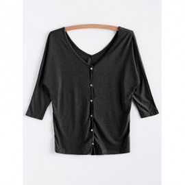 V-Neck Three Quarter Sleeve Gray Cardigan