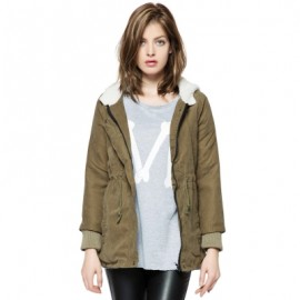 Solid Color Cotton-Padded Hooded Long Sleeves Thicken Coat