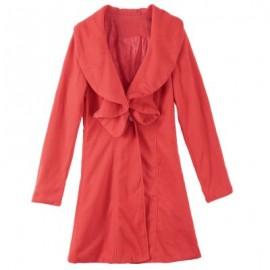 Long Sleeves Ruffles Lapel Beam Waist Long Sections Stylish Trench Coat