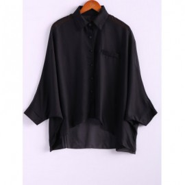 Charming and Perspective Asymmetrical Hem Bat Sleeve Chiffon Shirt For Women