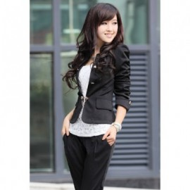 Solid Color Bowknot Embellished Blazers