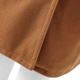 Turn-Down Neck Long Sleeve Double-Breasted Pocket Design Coat