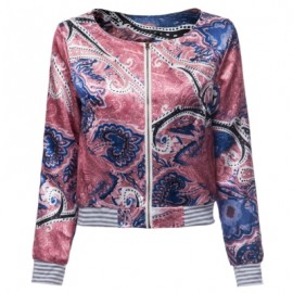 Scoop Neck Long Sleeve Print Loose-Fitting Jacket For Women
