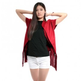 Stand Collar Short Sleeve Color Fringed Coat For W..