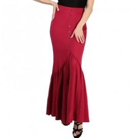 FRENCH BAZAAR High Waisted Long Pleated Skirt