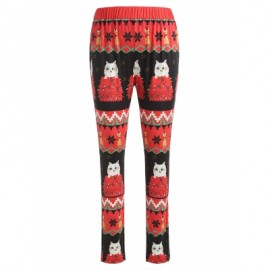 Christmas Cat Print Leggings