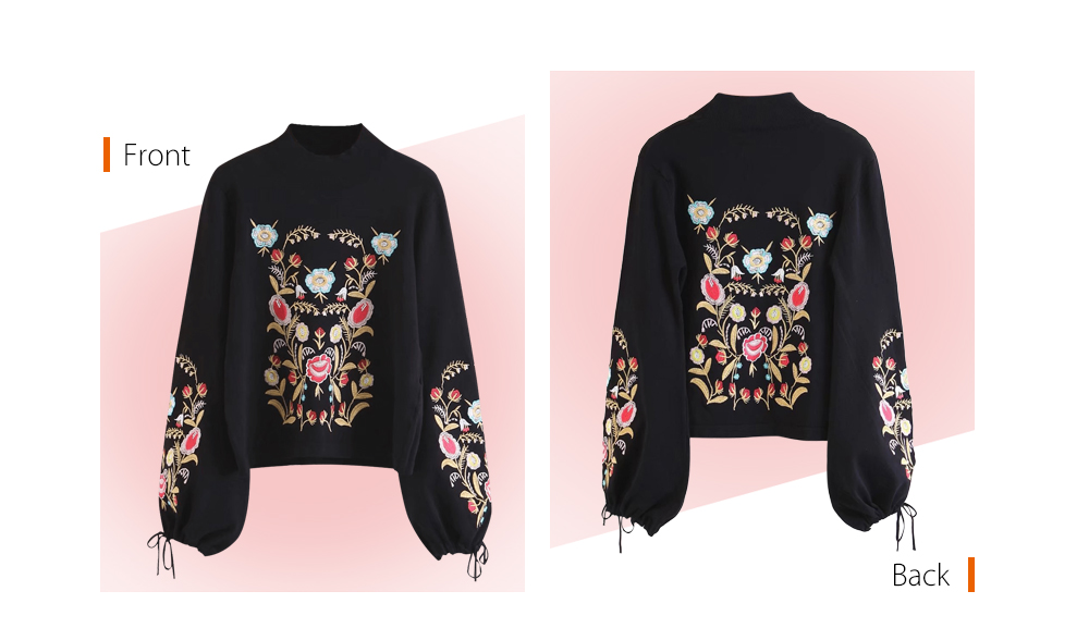 Stylish Stand Collar Long Sleeve Tied Embroidery Women Sweater