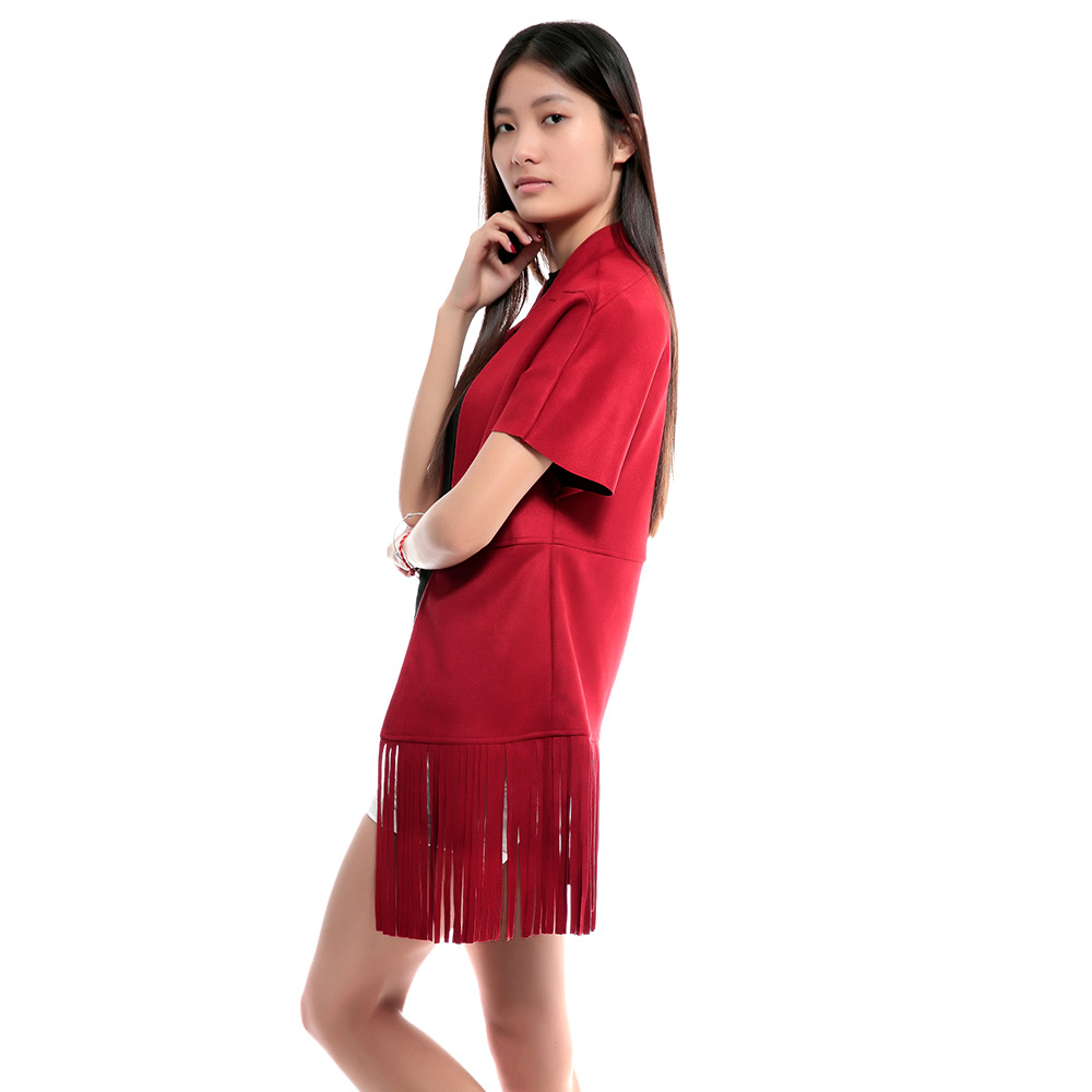 Stylish Stand Collar Short Sleeve Color Fringed Women's Coat